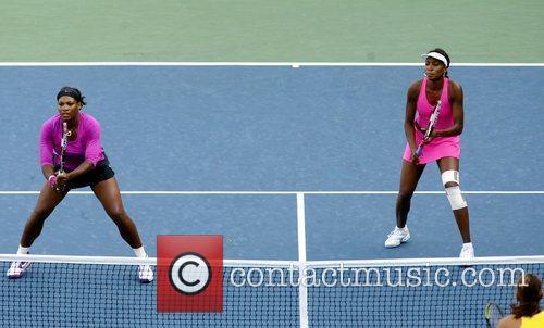Serena Williams and Venus Williams of the United...