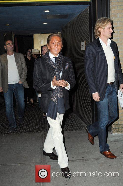 Designer, Valentino leaving the Sunshine theatre after attending...