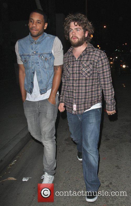 Reggie Yates and Jack Osbourne outside Voyeur nightclub...