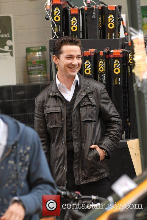 Shia LaBeouf - laughs on the set of his new movie 'Wall ...
