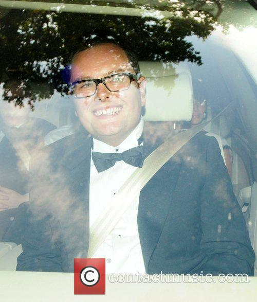 Arrives at Elton John's White Tie and Tiara...