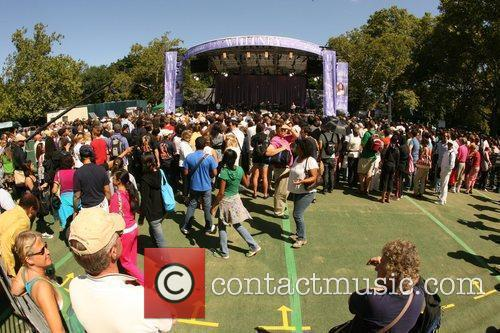 Crowds gather to watch Whitney Houston performing live...