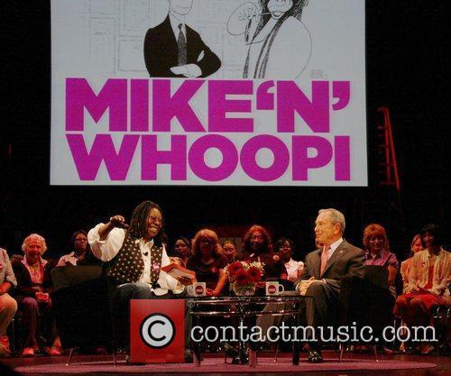 Whoopi Goldberg interviews Mayor Michael Bloomberg at the...