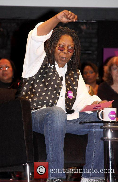 Whoopi Goldberg during an interview with Mayor Michael...