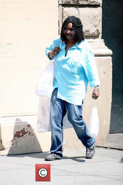 Whoopi Goldberg leaving the Apple Store in SoHo...