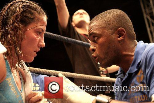 Myriam Lamare of France in her corner boxing...