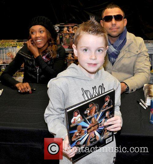 Alicia Fox, Fan and Santino Marella  WWE...