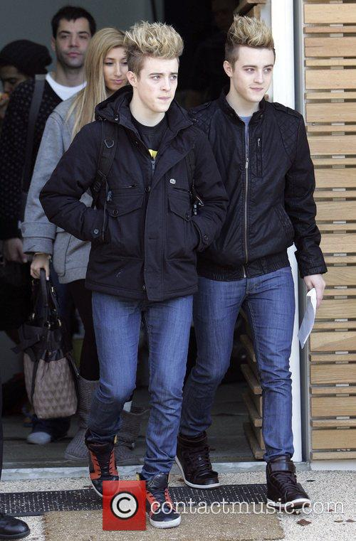 Stacey Solomon and John and Edward Grimes leave...