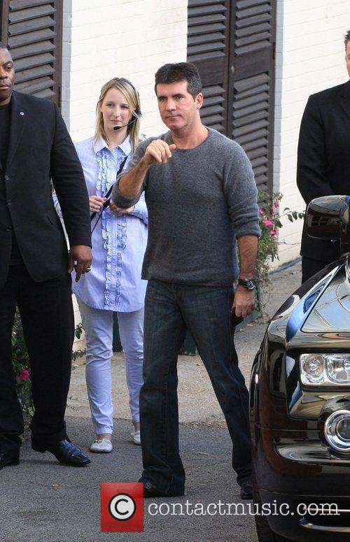 Simon Cowell arrives to record the 'X Factor'