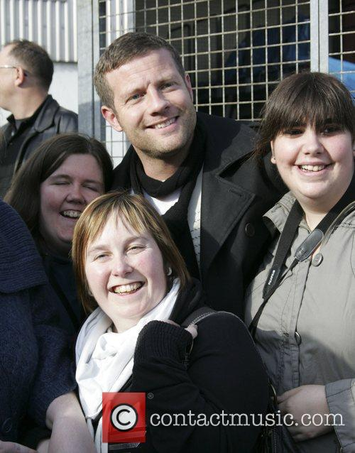 X Factor Presenter - Dermot O'Leary with fans...