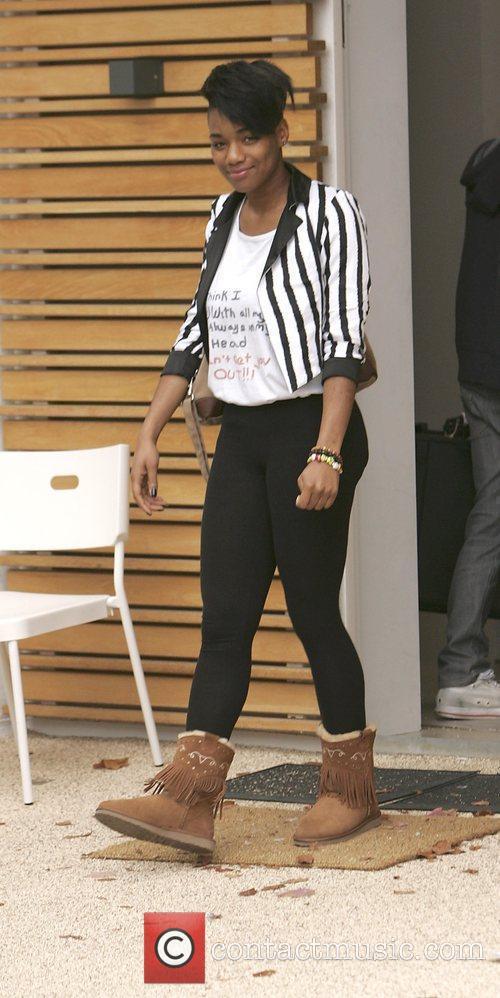 X Factor Finalist Rachel Adedji leaving the X...