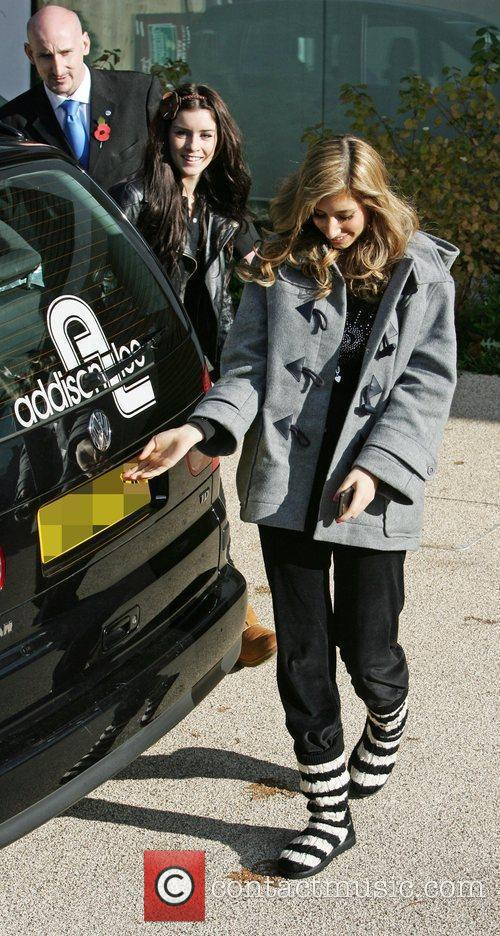 Lucie Jones and Stacey Solomon outside the 'X...