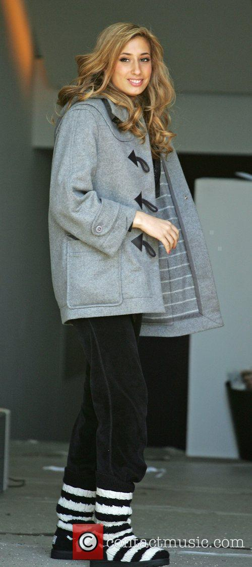 Stacey Solomon outside the 'X Factor' house wearing...