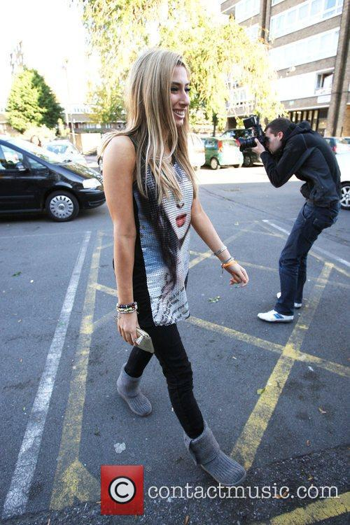 Arrives at the X factor studios to rehearse...