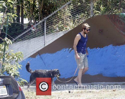 Zachary Quinto takes his Irish Wolfhound/Airedale Terrier dog...