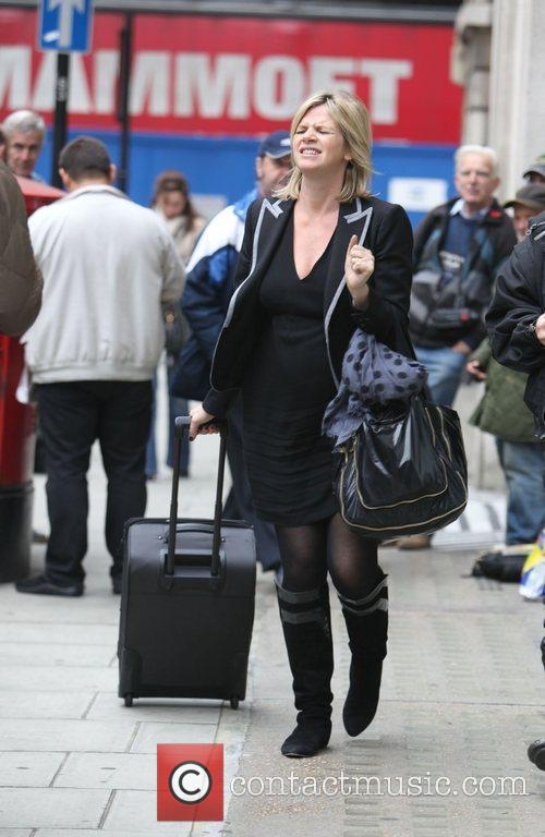 Pregnant Zoe Ball leaving the BBC Radio 2...