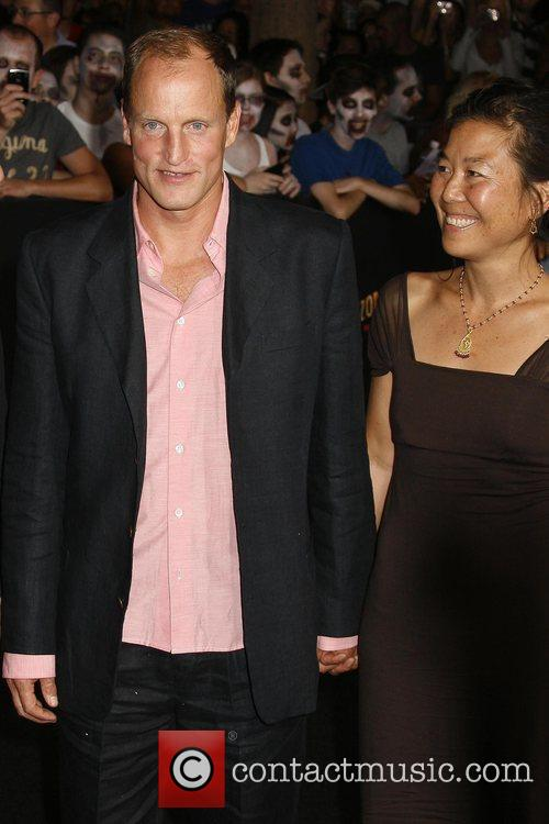 Woody Harrelson and wife Los Angeles premiere of...