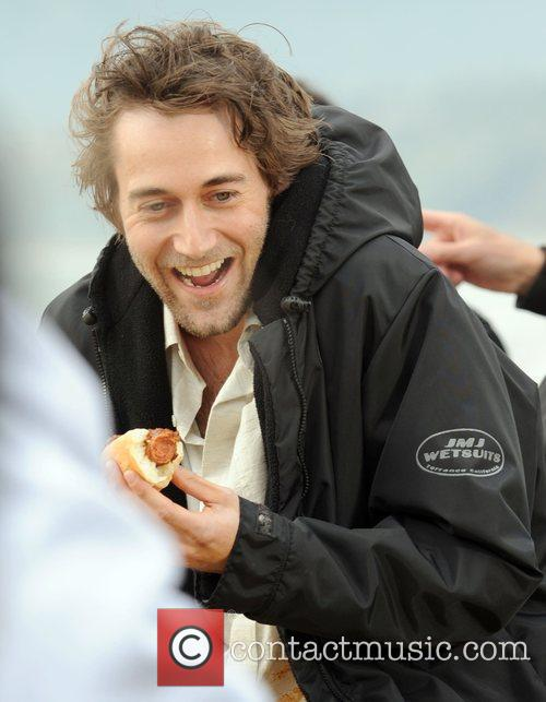 Ryan Eggold filming a scene for the TV...