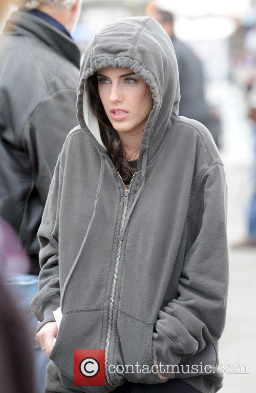 Jessica Lowndes rehearsing a scene for the TV...