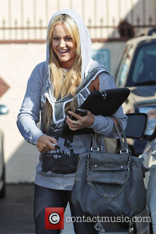 Lacey Schwimmer   outside the dance rehearsal...