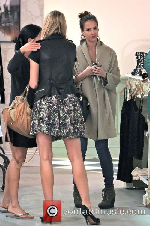 Jessica Alba and a friend shopping for clothes...