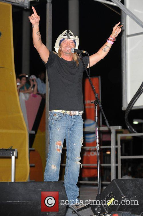 Bret Michaels performing live on stage prior to...