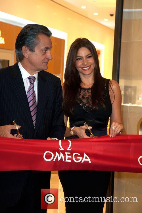 Omega President Stephen Urquhart and Sofia Vergara open...
