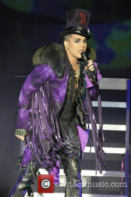 Adam Lambert performing live on stage during the...