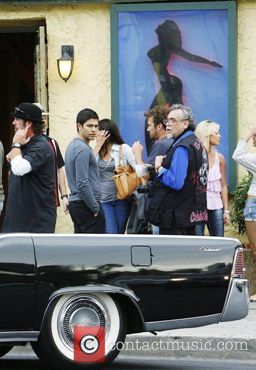 Adrian Grenier filming a scene for 'Entourage' Los...