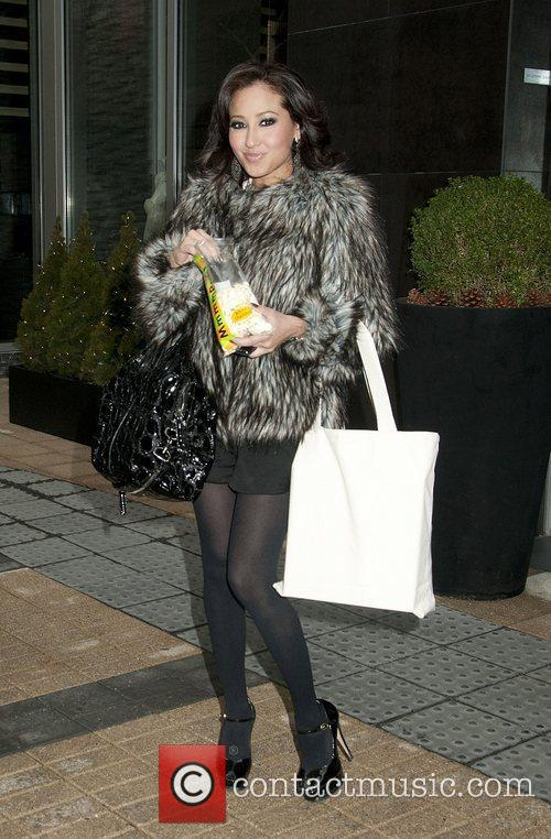 Adrienne Bailon arrives at Fashion26 Hotel. New York...