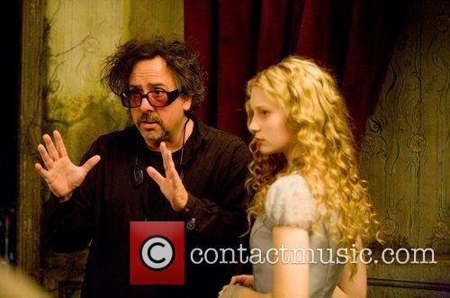Tim Burton and Mia Wasikowska On Set 4
