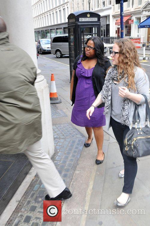 Amber Riley does some shopping at Burberry London,...