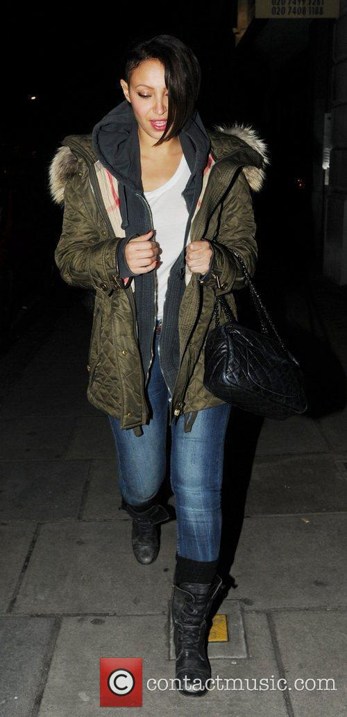 Amelle Barrabah leaving Nobu Berkeley restaurant London, England