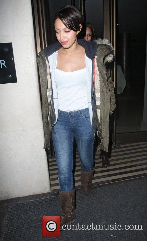 Sugababe Amelle Berrabah leaves the May Fair hotel...