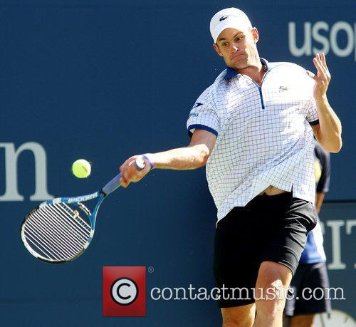 Andy Roddick of the United States competes against...