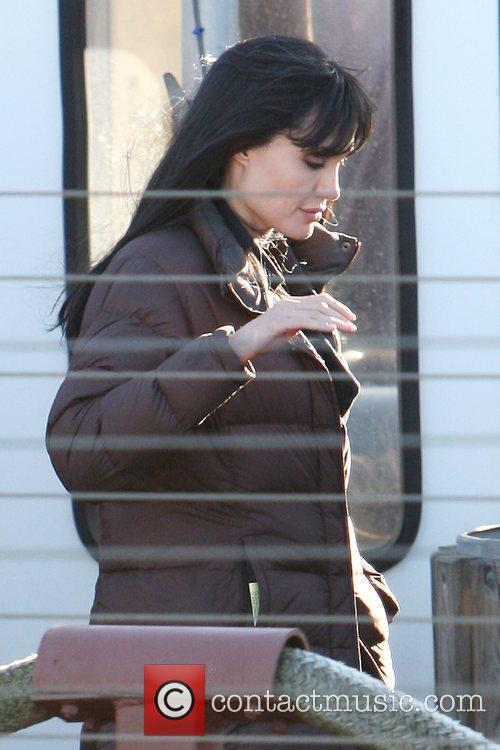 Angelina Jolie braves the cold weather on the...