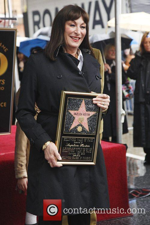 Anjelica Huston receives a star on the Hollywood...