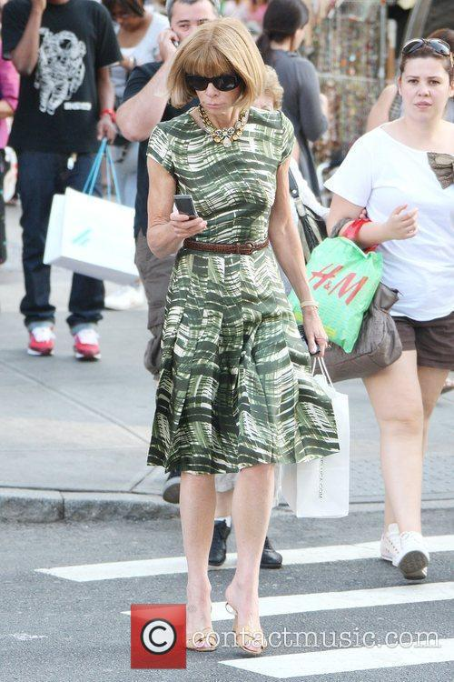 Anna Wintour crosses a street on her way...