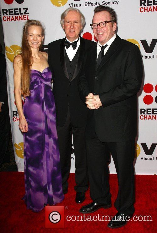 James Cameron with his wife Suzy Amis and...