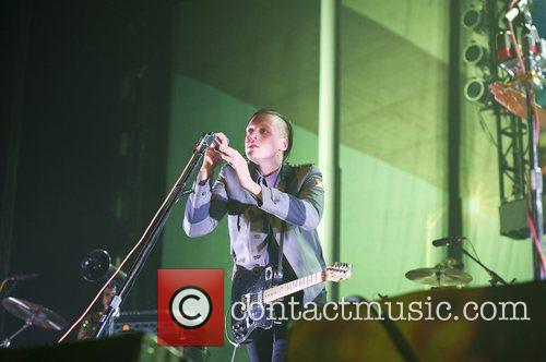 Win Butler of Arcade Fire performs live on...