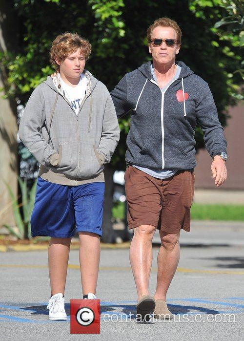 Arnold Schwarzenegger takes his son for lunch in...