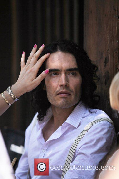 Russell Brand on the set of the new...