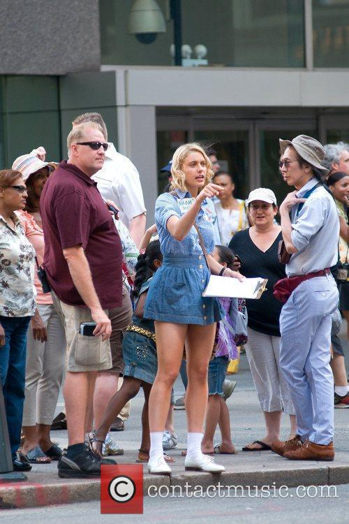 Greta Gerwig on the set of new film...