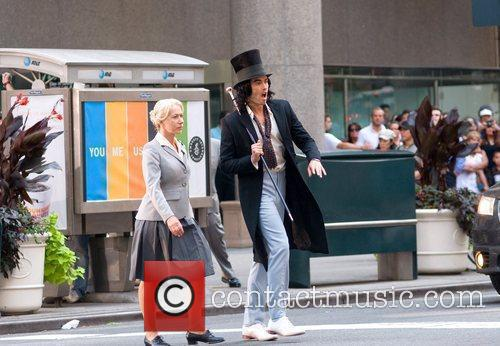Russell Brand and Helen Mirren on the set...