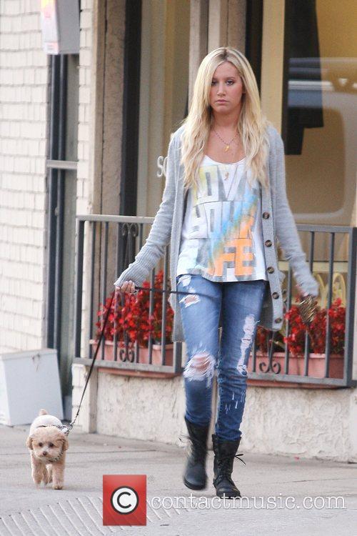 Ashley Tisdale walks her dog around Toluca Lake...