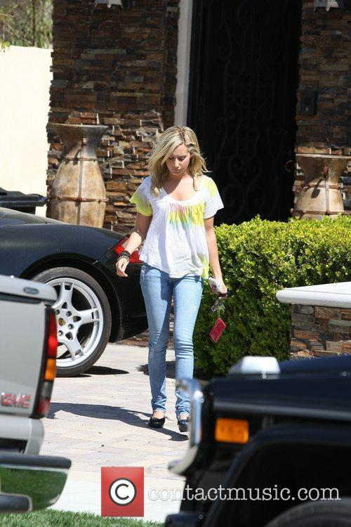 Ashley Tisdale leaving her house in Toluca Lake.