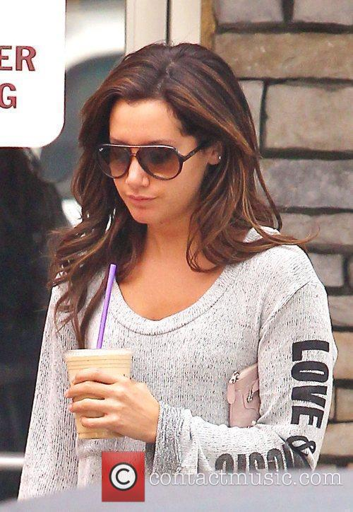 Ashley Tisdale is seen grabbing coffee at The...