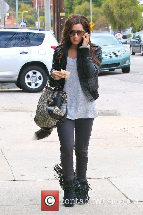 Ashley Tisdale is seen arriving at a recording...
