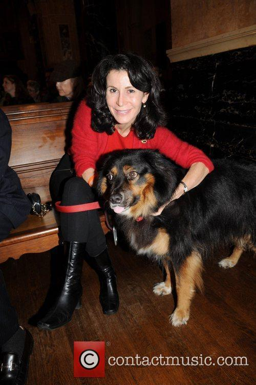 Guest with her dog  Cindy Adams hosts...