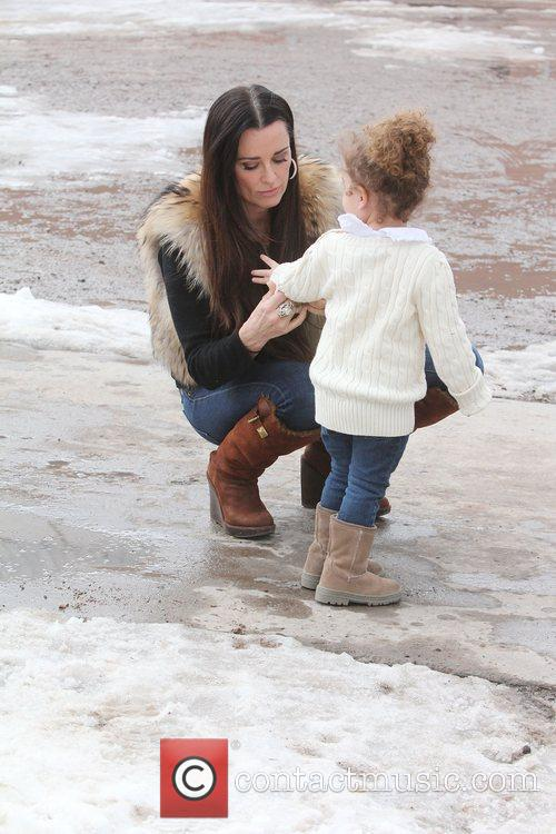 Kyle Richards with her daughter in downtown Aspen...